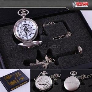 Набор: карманные часы, подвеска и кольцо Aliexpress Vintage 1 set Pocket Watch Necklace Ring Full Alloy Cosplay Quartz Pocket Watch Pendant with Chain Unisex Gift  фото