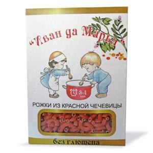 Макаронные изделия Иван да Марья Рожки из красной чечевицы безглютеновые фото