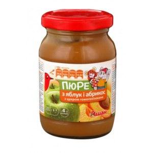 Фруктовое пюре Auchan Яблоко-абрикос фото