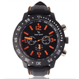 Часы Aliexpress Best Sell Distinct Decorative Sub-Dials Dynamic contrast Color Analog Dial Men Sport Quartz WristWatch Black Silicone Band фото