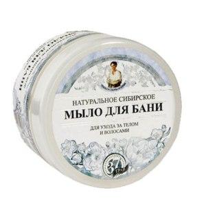 Мыло  Рецепты бабушки Агафьи Для бани натуральное сибирское белое для ухода за волосами и телом фото