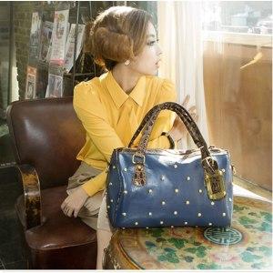Сумка GL New Fashion Style Women's Fashion PU Leather Rivet Totes Shoulder Bag handbags фото