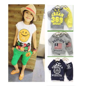 Костюм AliExpress Wholesales 2013 summer children's clothing set t-shirt + pants girls boys clothes kids sports suits CREAM 369 SUGARY free ship фото