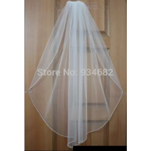 Фата Aliexpress  Wedding Veils With Comb Two Layers Ribbon Edge Wedding accessories Hot Sale фото