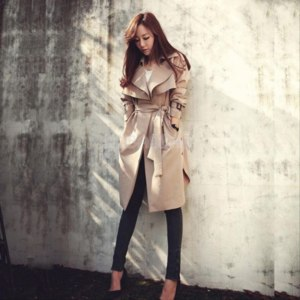 Пальто Ebay 2014 New Spring Women Trench Coat Knee Length Belt Loose Jacket Overcoat Fashion фото