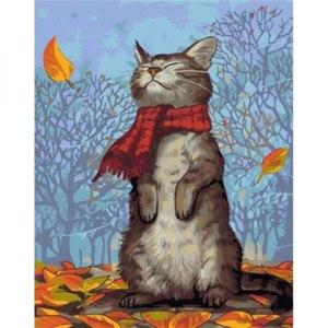 """Картина по номерам Артвентура """"Кот в шарфе"""" артикул 02ART50402023 фото"""