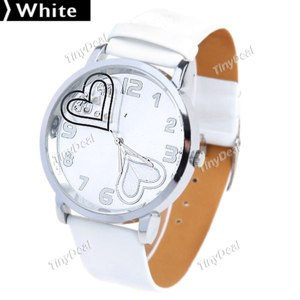 Часы женские Tinydeal Fashionable Quartz Watch Wrist Watch Timepiece w/ Heart Pattern Dial Synthetic Leather Strap for Women Lady Girl WWM-99398 фото