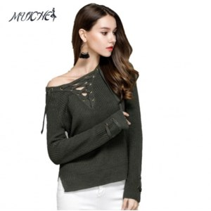 Одежда для женщин AliExpress 2017 Women V Neck Knitted Sweater Striped Bandage Cross Ties Pullover Loose Casual Long Knitwear Jumper Top Sweter Mujer фото