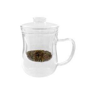 Cтеклянный Чайник-кружка с фильтром для Заварки Чая Just a Leaf Tea Infuser, Glass Tea Cup with Strainer, 8 oz Tea Glass фото