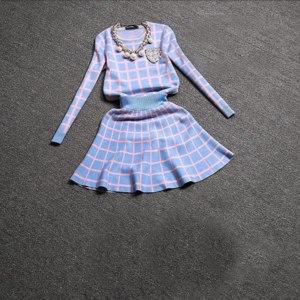 Костюм AliExpress 2016 New Knit Long-sleeve Sweater Skirt Suits Women Sweet Beads Collar Knit Crochet grid Crop Top A-line Skirt Women's 2pcs Set фото