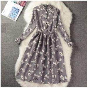 Платье AliExpress Corduroy High Elastic Waist Vintage Dress A-line Style Women Full Sleeve Flower Plaid Print Dresses Slim Spring Dress 18 Colors фото