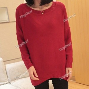 Свитер Tinydeal Knit Casual Crew Neck Simple Knitwear for Women NWK-149921 фото