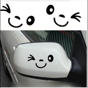 Наклейка на автомобиль Aliexpress 1pc Cute Car Styling Smile Face 3D Decal Black Sticker for Auto Car Side Mirror L+R Rearview фото
