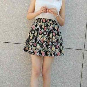 Юбка Ebay HOT Summer Women Cool Flower Print Pleated Casual Cotton Party Mini Skirt Q291 фото