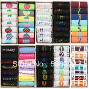 Носки AliExpress New 2014 Lowest Price 1lot=7Pairs=14pcs Novelty product Weekly 7 Days Socks Sports socks Autumn -Summer Women and Men socks фото