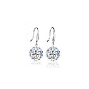 Серьги Aliexpress Valentine's Day Gift For Woman Genuine 925 Sterling Silver 8MM Zircon Earring Fine Jewelry фото