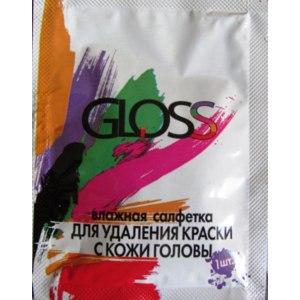 Влажные салфетки Gloss для удаления краски с кожи головы фото