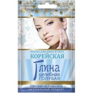 Маска для лица и тела Стимул-колор косметик КОРЕЙСКАЯ Глина целебная голубая с экстрактом спирулины фото