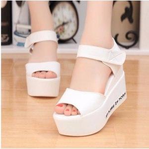 Босоножки Aliexpress EFFGT Women Summer shoes white Black fashion platform soft PU sandals women's high-heeled shoes thick heel sandals free shipping фото