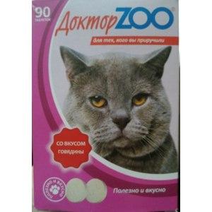 Витамины для кошек Доктор Zoo С биотином со вкусом говядины  фото