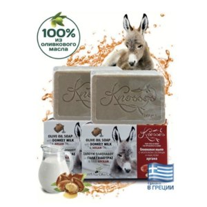 Натуральное мыло KNOSSOS  Donkey Milk&Argan оливковое с ослиным молоком и арганой фото