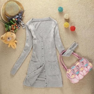 Кардиган AliExpress 2013 women's spring cloth buckle medium-long cardigan with pockets solid color sweate фото