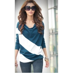 Кофта AliExpress Promotion loose sleeve t shirt stitching striped long-sleeved knitwear pullover for ladies free shipping wholesale фото