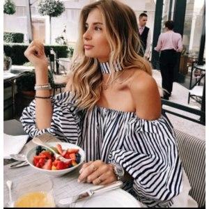 Блуза AliExpress Elegant Blouses Floral Tops Plain Blue Off the Shoulder Elegant Sexy Shirts Women фото