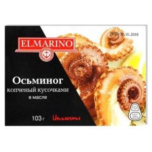 Морепродукты Elmarino Осьминог копченый кусочками в масле фото