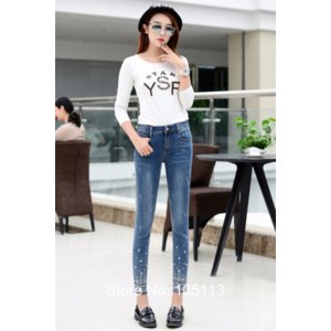Джинсы AliExpress Ladies Plus Size Jeans with rhinestone beadwork Skinny Jean Ladies Women Oversize Push Up Femme Pants Denim Pants 4XL S 52 54 фото