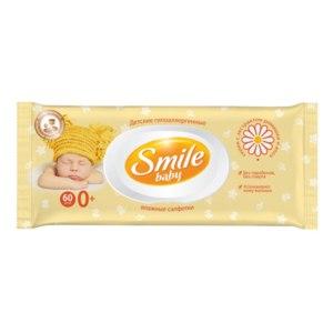 Влажные салфетки Smile Baby С экстрактом ромашки и алоэ с витаминным комплексом для детей с первых дней жизни фото