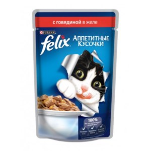 Корм для кошек FELIX консервированный с говядиной в желе фото