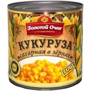 Консервированная кукуруза Золотой очаг Сахарная в зёрнах фото
