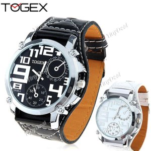 Наручные часы Tinydeal Cool Synthetic Leather Wide Band Quartz Watch Wrist Watch Timepiece with Sub-dials Decor for Men Male Boys WMN-115948 фото