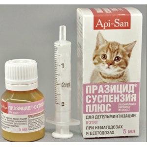 Антигельминтики Апи-Сан Празицид Плюс для котят суспензия фото