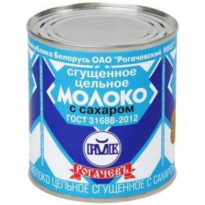 Молоко сгущенное Рогачёвский молочноконсервный комбинат цельное с сахаром фото