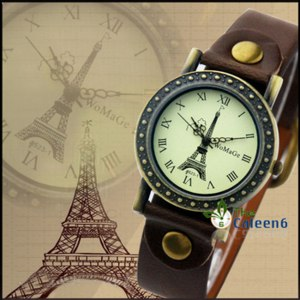 Часы Aliexpress Eiffel Tower Surface Fashion Woman Quartz Leather Strap 8 Colors Hot Sale Promotion Price High Quality Watches WA504 фото