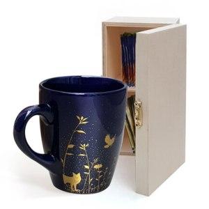 Набор для чаепития Ив Роше / Yves Rocher Кружка из керамики и шкатулка из дерева фото