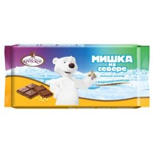 Молочный шоколад Кондитерская фабрика имени Н.К. Крупской Мишка на севере с воздушной кукурузой фото