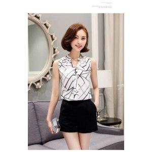 Блузка AliExpress 2017 New Summer Women Tops Casual Sleeveless V-Neck Fashion Women Blouse Shirt Chiffon Print Blouses Ladies Blusas S-XXL White фото