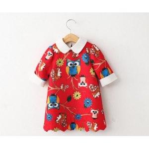 Платье AliExpress Free shipping 1 piece Spring 2015 girls three colors cartoon owl sleeve lapel dress фото