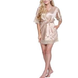 Халат AliExpress Sexy Wedding Dressing Gown Women Short Satin Bride Robe Lace Silk Kimono Bathrobe Summer Bridesmaid Nightwear Plus Size Peignoi фото