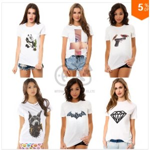 Футболка AliExpress ёenskoy odeёdy 2014 new fashion shirt ёenschin tee tops for ёenschin white cotton tee panda animal print t- shirts Batman t1028 фото