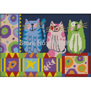 Набор для вышивки крестом Aliexpress Abstract Painting Cats Counted Cross Stitch 11 14CT DMC DIY Kit Embroidery for Home Decor Needlework фото