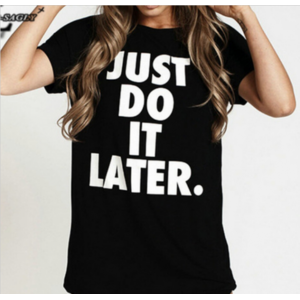 "Футболка AliExpress Summer Style 2016 ""Just Do It Later"" T shirts Black Punk Harajuku Short Sleeve Casual Tops Women O-neck Kawaii T-shirt H206 фото"