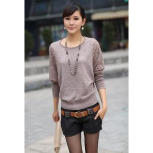 Кофта AliExpress Korean Style Women's Long Sleeve Lace Batwing Sleeve Casual Crew Neck Knitting Sweater shirt Top Blouse free shippping 7840 фото