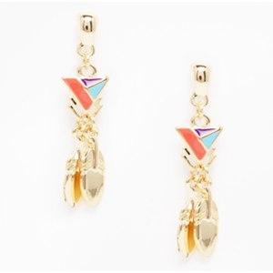 Серьги Aliexpress Darker 1pair fashion boho enamel leaves tassels geometric pierced ear stud earrings women earings earstud jewelry brincos DH-E09 фото