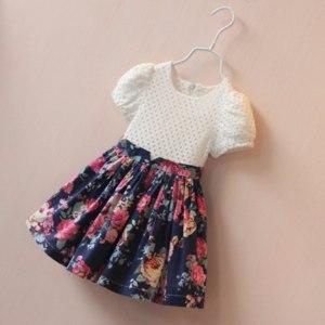 Платье AliExpress 2016 summer style new girls dress dress girls clothes cotton princess patchwork floral dress baby clothes vestidos фото