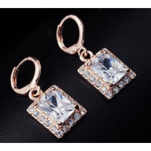Серьги Aliexpress Dropship Free shipping18K Rose Gold Filled Fashion Design leisure Cubic zirconia Hot Lady Women Earrings Dangler Jewelry CZ0326 фото