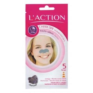 Очищающие полоски для носа L'ACTION для удаления жирного блеска с углём фото